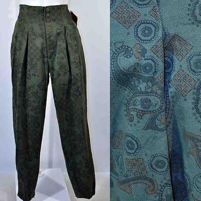 Vintage 80's Green Paisley Print High Waist Buckle Back Pants 13/14