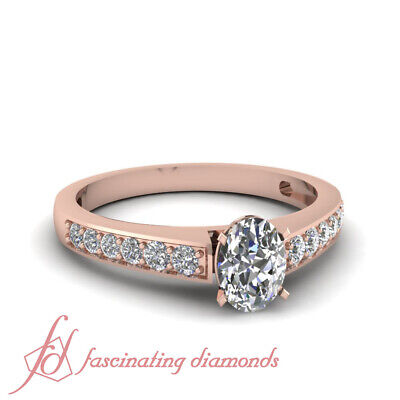 Pave Set 3/4 Ct Oval Shaped Conflict Free Diamond Engagement Ring GIA Certified