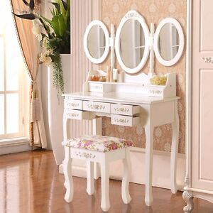 Shabby Chic Dressing Table Vanity Makeup with 7 Drawers, 3 Mirrors and Stool
