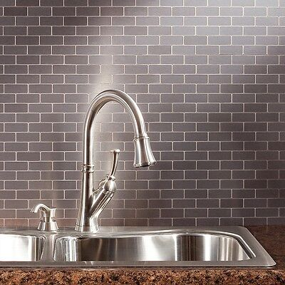 Aspect Peel and Stick Backsplash Subway Matted Metal
