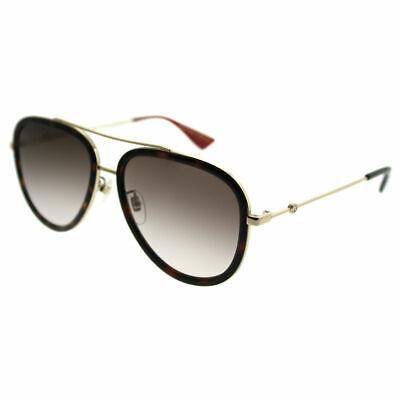 Gucci GG 0062S 012 Havana Gold Metal Aviator Sunglasses Brown Gradient Lens