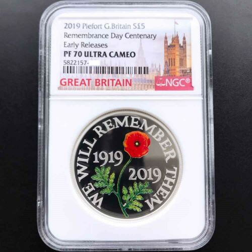 UK 2019 Great Britain Remembrance Day 1oz Silver Proof Piedfort Coin NGC PF70 ER