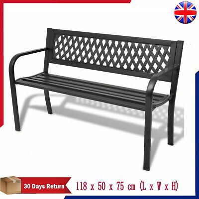 2 Seater Outdoor Garden Bench Black Steel Patio Park Seat Furniture Seating