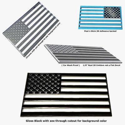 Amp Car Flag (3D Gloss Black USA American Flag Self Adhesive Emblem Decal Car Truck)