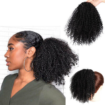 Synthetic Curly Wigs Hair Clip Ponytail African American Short Afro Black/Brown (Hair Clip Wigs)