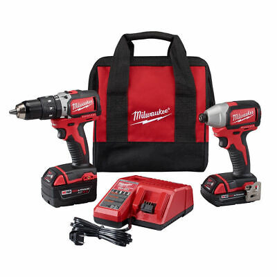 Milwaukee 2799-22CX M18 1/2 in. Hammer Drill and 1/4 in. Impact Driver Kit New
