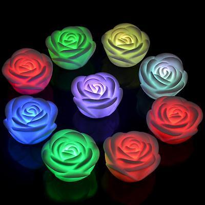 Weeding Indoor LED Night Floating 7 Color Changing Rose Flower Light