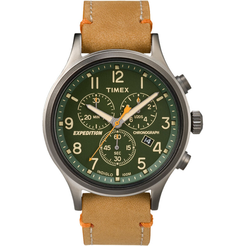 Timex Expedition Scout Chronograph Leather Watch - Green Dial  (TW4B04400JV)