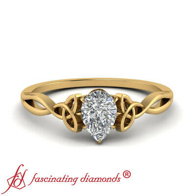 Celtic Design 0.50 Carat Pear Diamond Yellow Gold Split Shank Engagement Ring