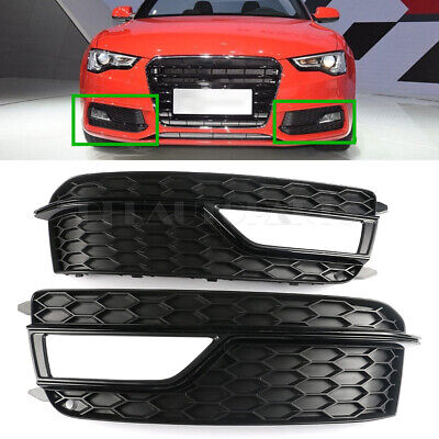 Pair Front Bumper Grille Fog Light Outer Cover Fit For Audi A5 S-Line S5 2013-16