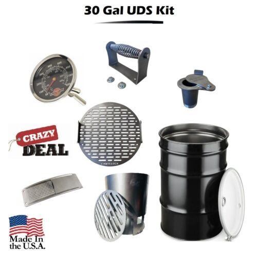 DIY 30 Gallon Premium Drum Smoker Kit Complete WITH DRUM Basket Grate Intake etc