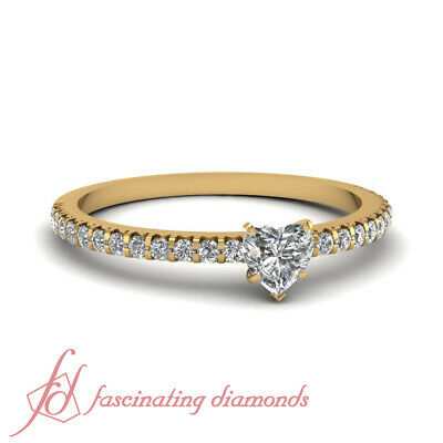 GIA Certified Heart Shape Pave Set Diamond Yellow Gold Engagement Ring 0.65 Ct