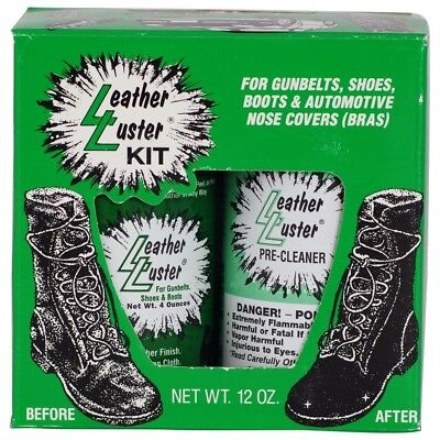 Leather Luster Kit High Gloss Black Polish & Pre-Cleaner Restore Protect 12oz