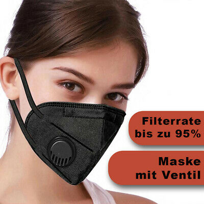 Wiederverwendbarer Mundschutz Schutzmaske Atemschutz mit Ventil Schwarz
