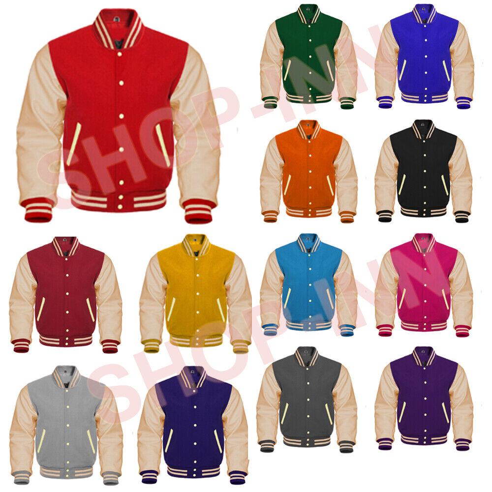 Premium Varsity Letterman Wool & Cream Genuine Leather Sleev