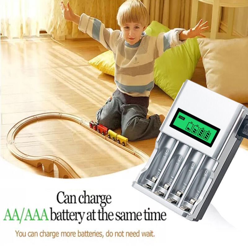 Akku Batterie Aufladegerät LCD Ladegerät für 4 AA AAA Schnelladegerät  DE