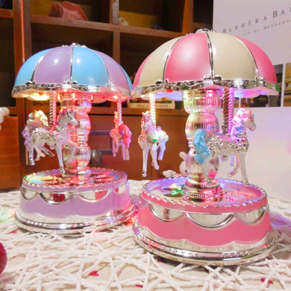 led 3 horses carousel music box toy
