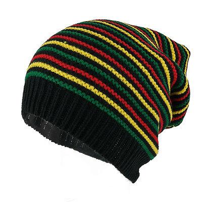Rasta Jamaican Crochet Colorful Stripes Baggie Slouch Acrylic Beanie Hat