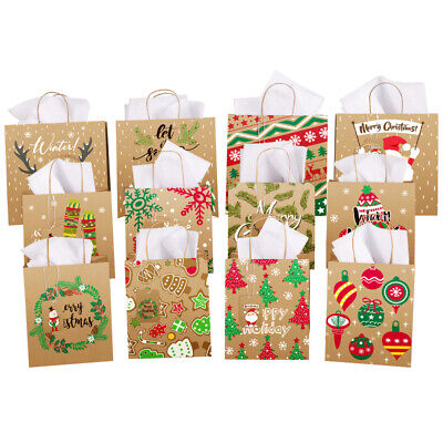 12pcs Set Christmas Gift Bags Twist Handle Paper Carrier Bags Birthday Party Bag