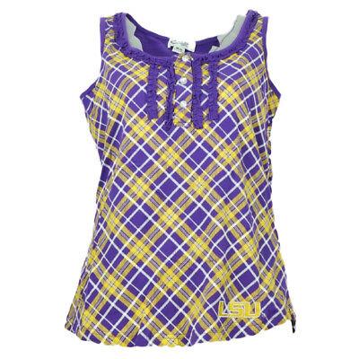 NCAA Louisiana LSU Tigers Womens Tank Top Plaid Pattern Purple Yellow Tee Ruffle