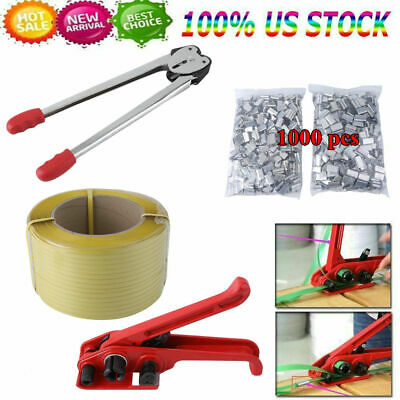 Strapping Tool Kit W 1 Roll Poly Strap 3280ft Total 1000pcs Metal Seals Us