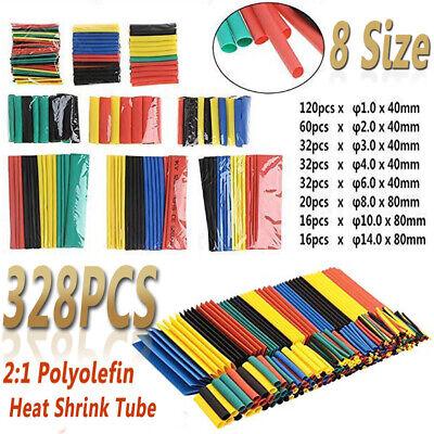 328 X 8 Size Heat Shrink 21 Polyolefin Tubing Tube Sleeve Wrap Wire Assortme