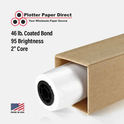 1 Roll 44 X 100 46lb Coated Bond Paper For Wide Format Inkjet Printers