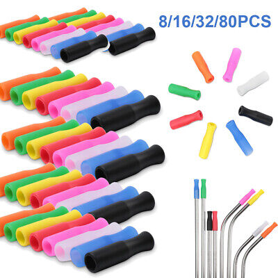 Lot80 Reusable Silicone Tip Cover For 6mm Stainless Steel Metal Straw Anti-scald Silicone Tip Covers