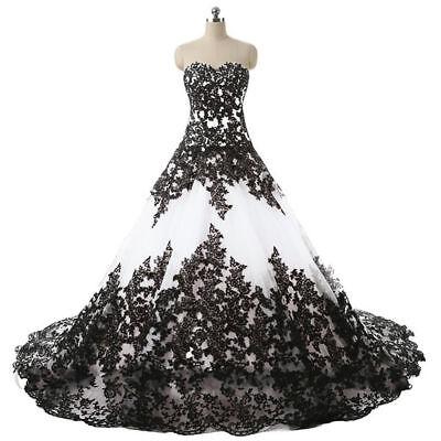 Gothic Black Applique Wedding Dresses Vintage Strapless Bridal Ball Gowns All SZ](Gothic Wedding)