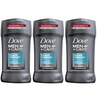 3 Pack Dove Men+Care Clean Comfort Antiperspirant 2.7 Oz Each