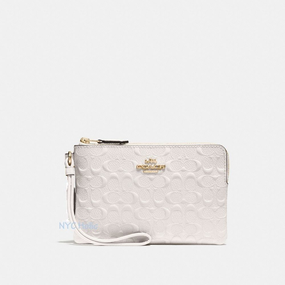 New Coach F58032 F58035 Corner Zip Wristlet With Gift Box New With Tags Signature Chalk