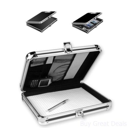 Vaultz Locking Storage Aluminum Clipboard Hard Black Solid Briefcase Paper Case