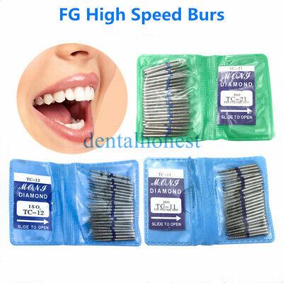 50pcs Dental Diamond Burs Fg High Speed Burs For Polishing Smoothing Tc Series