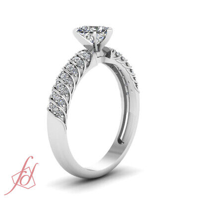 3/4 Ct Platinum Diamond Rings For Women With Heart Shape And Round Accents GIA 2