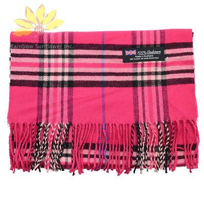 Hot Pink Plaid Design - Men Women 100% CASHMERE Scarf tartan Plaid Design Soft MADE IN SCOTLAND Hot Pink