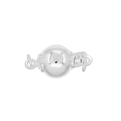 Sterling Silver Round Box Clasp (Sterling Silver Round Necklace Ball Push Pearl Box Clasp ap. 8mm)