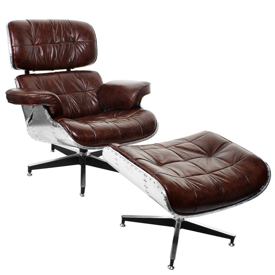 Vintage Echtleder Sessel Ledersessel Industrie Design Retro Lounge Ottomane 452