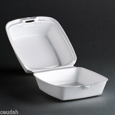 """(25) 5"""" Sandwich Container White Foam Hinged Lid Food Tray Dart Take Out Party"""