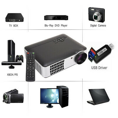 7000 Lumen 1080P 3D 5.8 Inch LCD Display LED Projector Multimedia Home BK