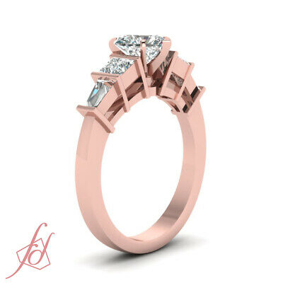 1.50 Ct Princess Cut And Baguette Diamond Ring With Heart Shaped In Center GIA 2