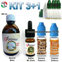Kit Svapo Base 250ml + Mix 3 Aromi Per Sigaretta Elettronica Made In Italy -  - ebay.it
