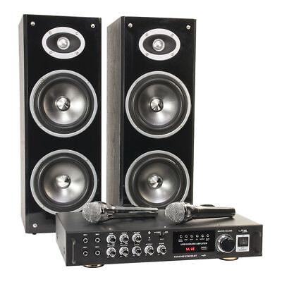 LTC Karaoke Sound System 200W USB SD Bluetooth 2 x Wired Handheld Microphone (Karaoke-sound-system)