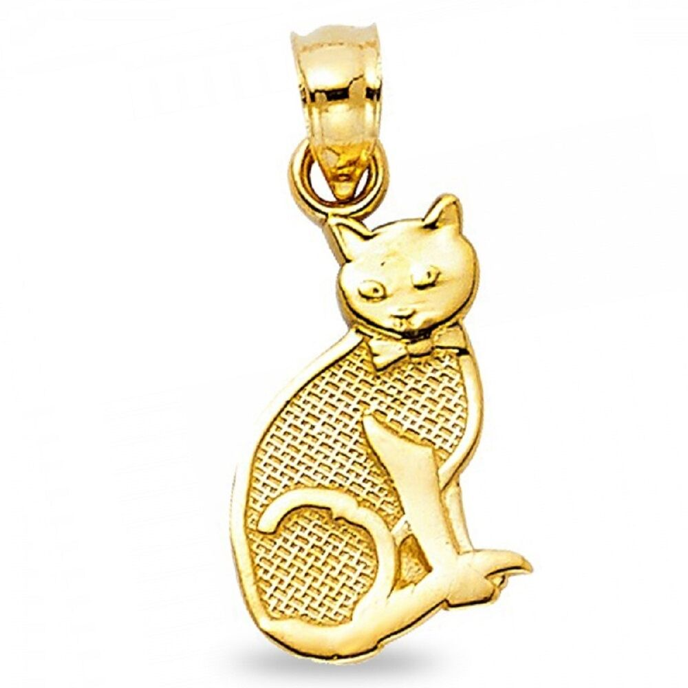 14k Yellow Gold Cat Pendant Charm