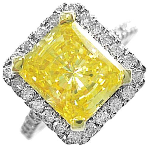 Radiant cut Diamond Engagement Ring 3.75 CTW Fancy Yellow Platinum GIA