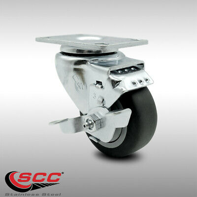 Ss Thermoplastic Rubber Swivel Top Plate Caster - 3 Wheel Brake