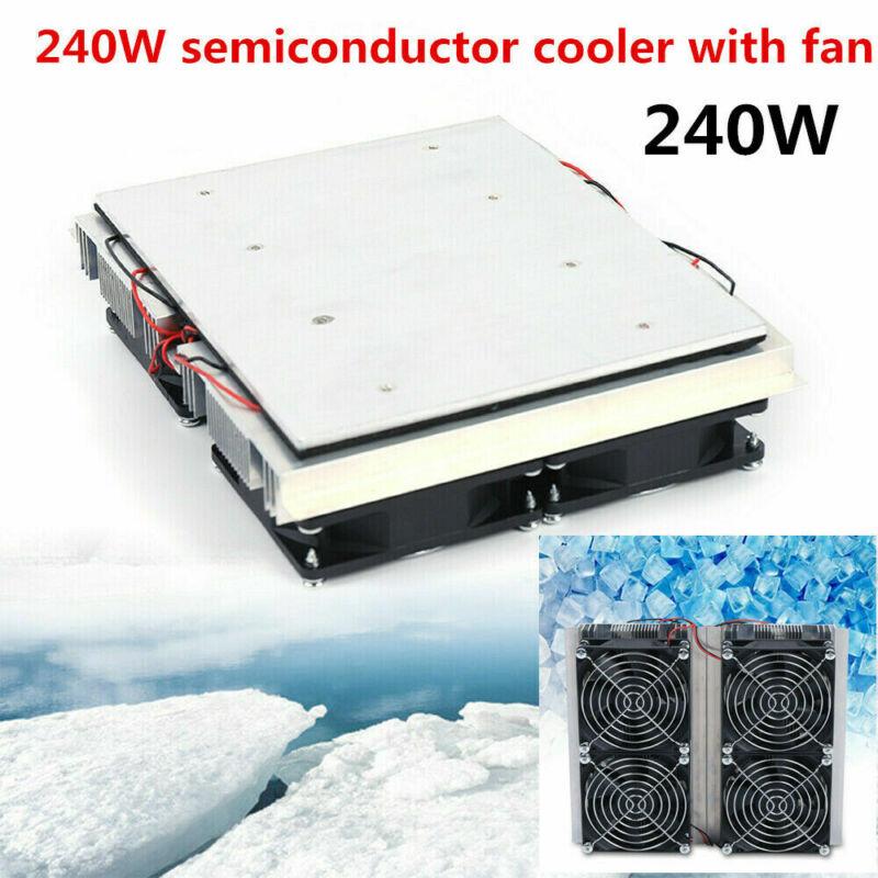 12V 240W Peltier Cold Plate Cooler 4 Cold Cooling Plate Cooler Fan US DIY Best