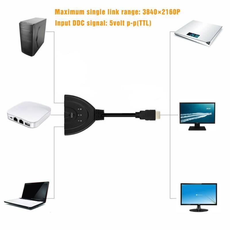 3in1 HDMI Kabel Splitter Kabel Umschalter Verteiler Switch 4k Full HD 1080P NEU