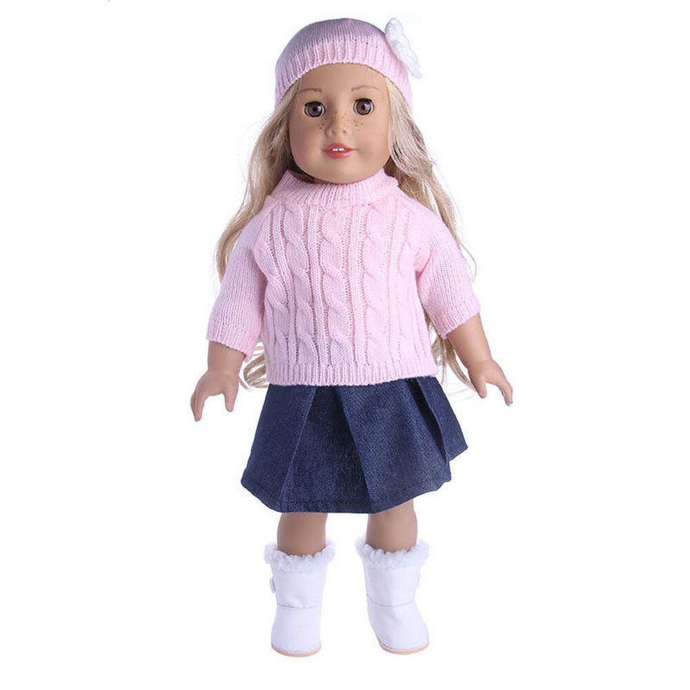 Doll Clothes Dress Outfits Pajames For 18 inch American Girl Our Generation Accs Pink Sweater+Skirt+Hats