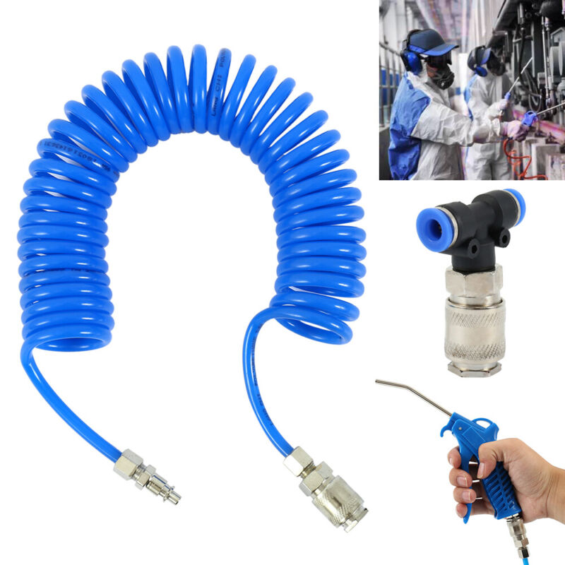 AIR DUSTER BLOW GUN AND 5m RECOIL HOSE TRUCK LORRY DUST BLOWER CLEANING HOSE SET