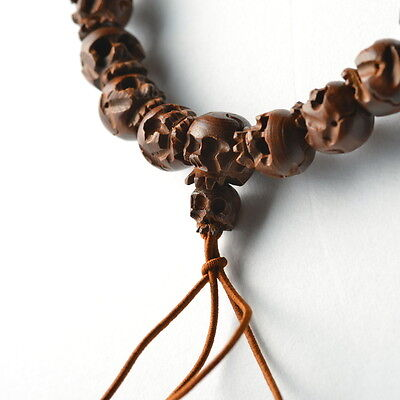 Tsuge (Buxus Wood) Skull Japanese Juzu Bracelet Rosary Prayer beads Kyoto Zen